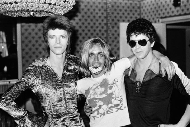 David Bowie, Iggy Pop y Lou Reed en The Dorchester (©Mick Rock, 1972).